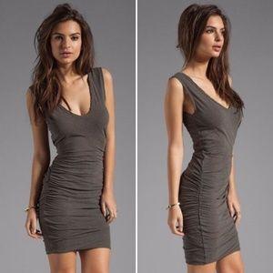 Carbon Shirred Jersey V-Neck Tank Skinny Dress
